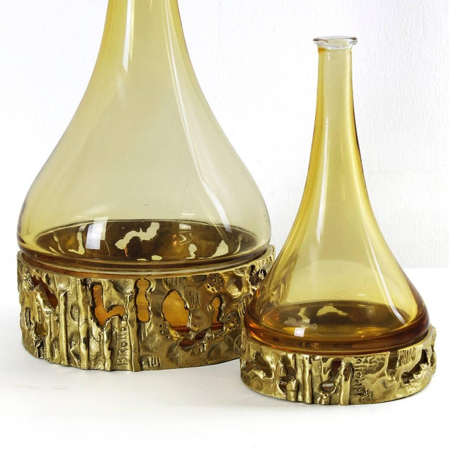 Angelo Brotto 1970s Set of Three Murano Bottles by Angelo Brotto, yellow glass, bronze - Italy For Sale - Image 4 of 11