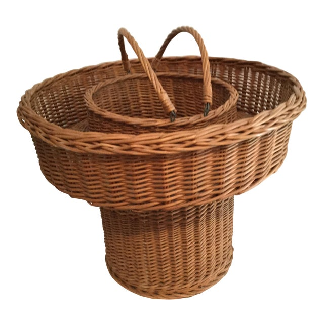 Basket With a Wooden Bottom For Sale