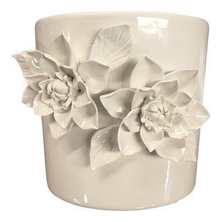 Vintage Porcelain Blanc De Chine Orchid Pot With Appliqué Camelias