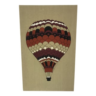 1978 Vintage Domus Textiles Handprinted Hot Air Balloon by Chiaki For Sale