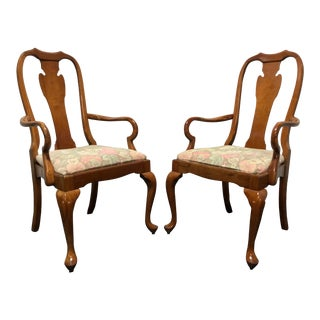 Harden Solid Cherry Queen Anne Dining Arm Chairs - A Pair For Sale