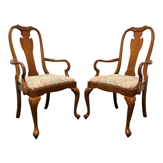 Harden Solid Cherry Queen Anne Dining Arm Chairs A Pair