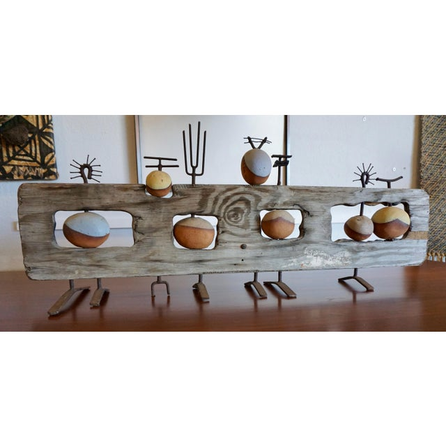 Abstract Ceramic, Steel and Wood Sculpture by Hal Riegger For Sale - Image 3 of 8