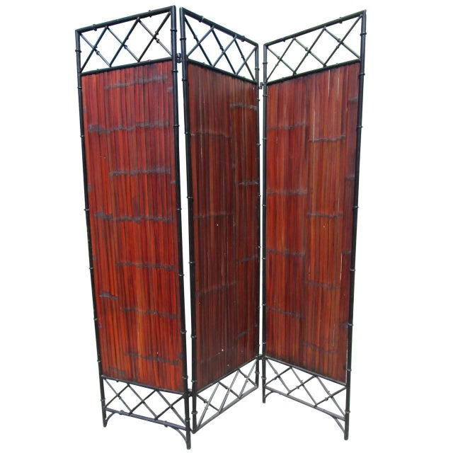 Wrought Iron & Bamboo Slet, 3-Panel Screen For Sale - Image 5 of 6