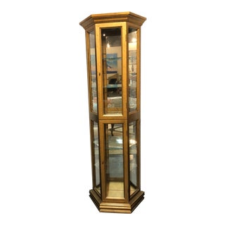 Vintage Mid-Century Gold Curio Cabinet For Sale
