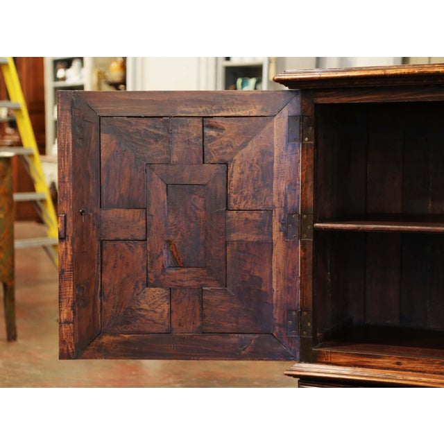 19th Century Italian Carved Walnut Two-Door Buffet Cabinet With Bottom Drawer For Sale - Image 10 of 13