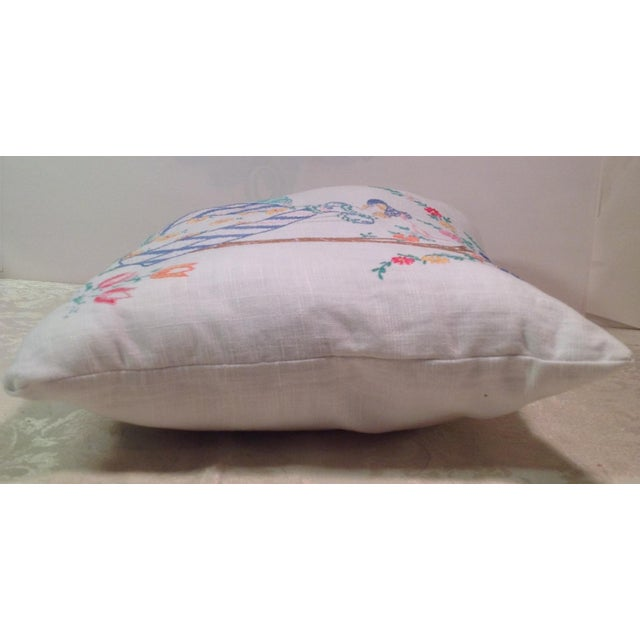 Mid-Century Modern Hand Embroidered Pillow - Image 3 of 5