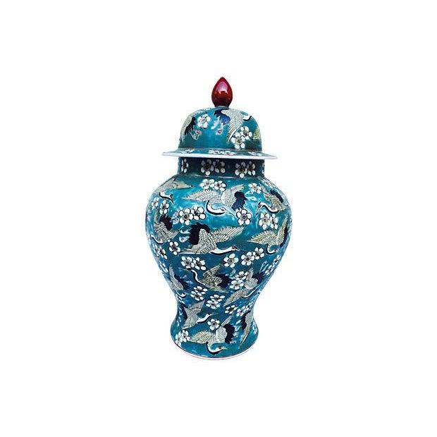 Blue Oriental Crane & Flower Jar - Image 1 of 5