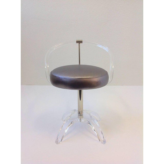 Acrylic and Polished Nickel Swivel Vanity Stool by Charles Hollis Jones For Sale In Palm Springs - Image 6 of 7