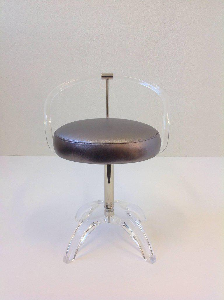 Acrylic And Polished Nickel Swivel Vanity Stool By Charles Hollis Jones    Image 6 Of 7