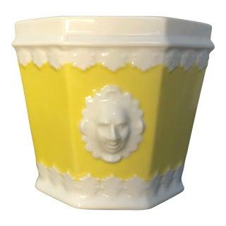 Mid-Century Modern Lemon Yellow Vintage Mottahedeh Cachepot