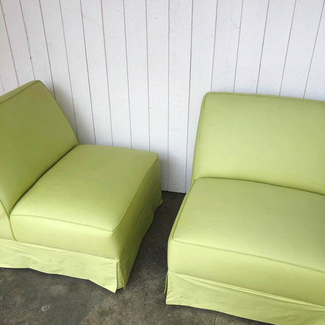 Vintage Custom Made Skirted Lounge Chairs in New Chartreuse Fabric - a Pair For Sale - Image 4 of 11