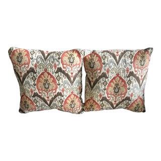 """22"""" Multicolor Moroccan Floral Woven Pillows - a Pair"""