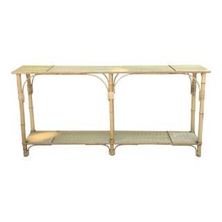 Hollywood Regency Handcrafted Rattan Console Table For Sale