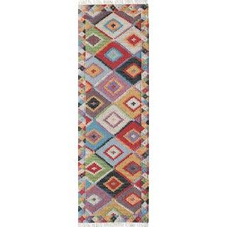 """Momeni Caravan Hand Woven Multi Wool Runner - 2'3"""" X 8' For Sale"""