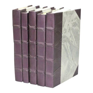 Parchment Collection Lilac Books - Set of 5 For Sale