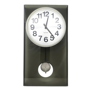 Vintage Smoked Lucite Pendulum Wall Clock by Bulova For Sale