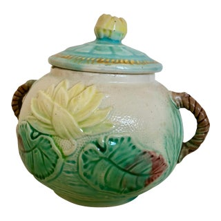 Antique Majolica Water Lily Sugar Bowl For Sale