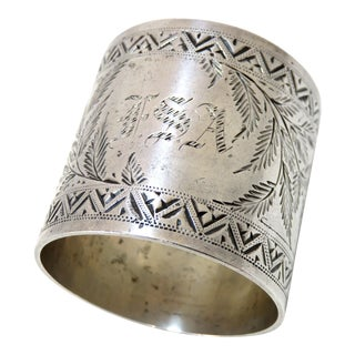 Oversize Antique Sterling Silver Napkin Ring For Sale