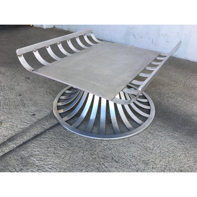 1960s Russell Woodard Extruded Aluminum Outdoor/Patio Ottoman For Sale - Image 5 of 6