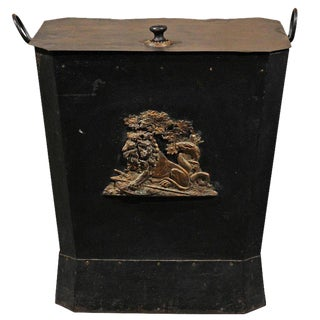 English Black Metal Coal Scuttle with Bronze Lion Reclining under a Tree