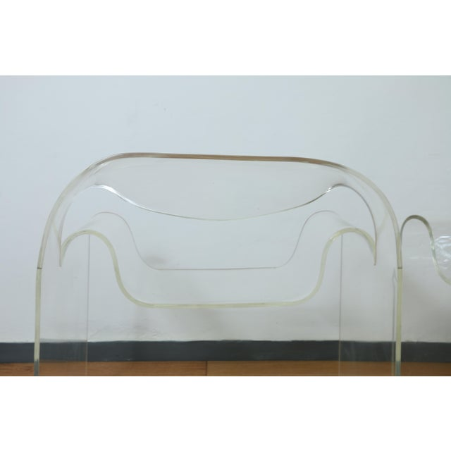 Vintage condition pair of Lucite Italian Pair of arm chairs. No major damages or cracks. Both are extremely comfortable...