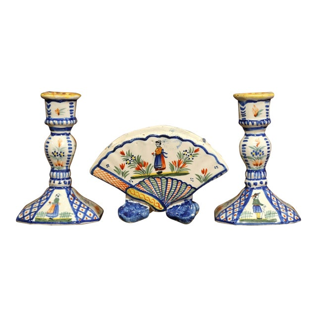 Mid-20th Century French Henriot Quimper Pair of Candlesicks With Matching Vase For Sale