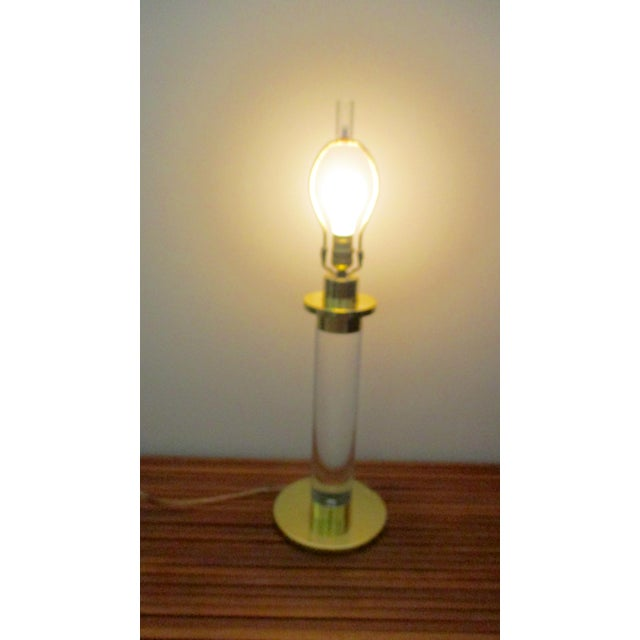 Late 20th Century Mid Century Modern Modernist Karl Springer Style Lucite Table Lamp For Sale - Image 5 of 13