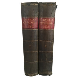 Antique 1800's Leather Bound Books - Pair For Sale