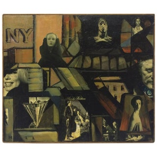 Pictorialist Oil Painting with Collage For Sale