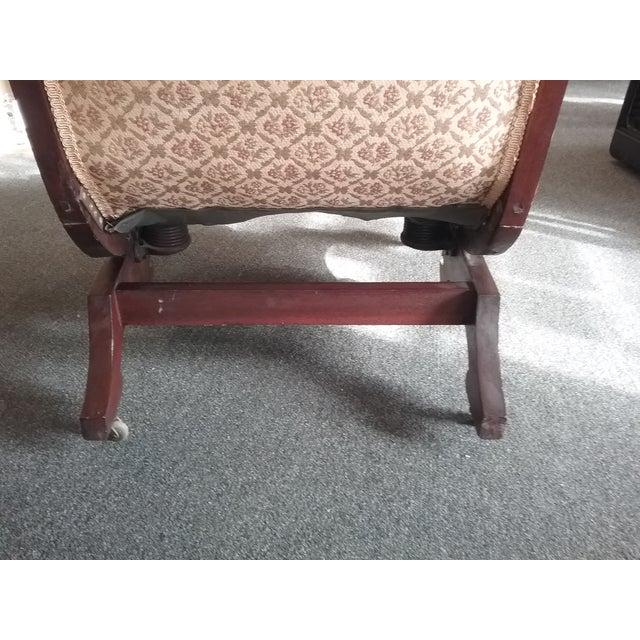 Wood Eastlake Upholstered Victorian Wood Platform Rocking Chair For Sale - Image 7 of 13