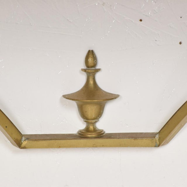 For your consideration, a Mexican Modernist Wall Console Table Star Brass Arturo Pani. Sculptural brass with original...