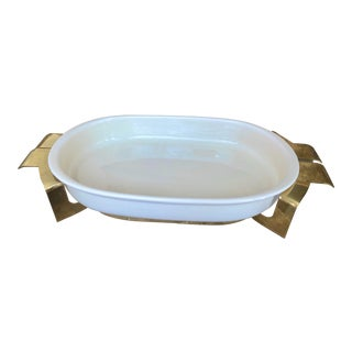 Late Mid-Century 3-Quart Oval Earthenware Baker With Brass Cradle by Beucler, Ltd. For Sale