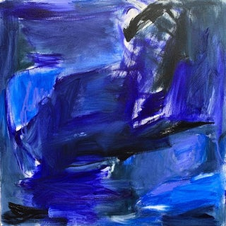 """""""Midnight Moon"""" by Trixie Pitts Abstract Expressionist Oil Painting For Sale"""