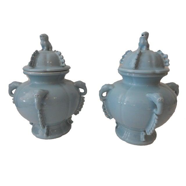 Blue Foo Dog Ginger Jars - A Pair - Image 3 of 5
