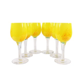Anna Örnberg Strömbergshyttan Studioglas Swedish Art Glass Wine Glasses - Set of Six For Sale
