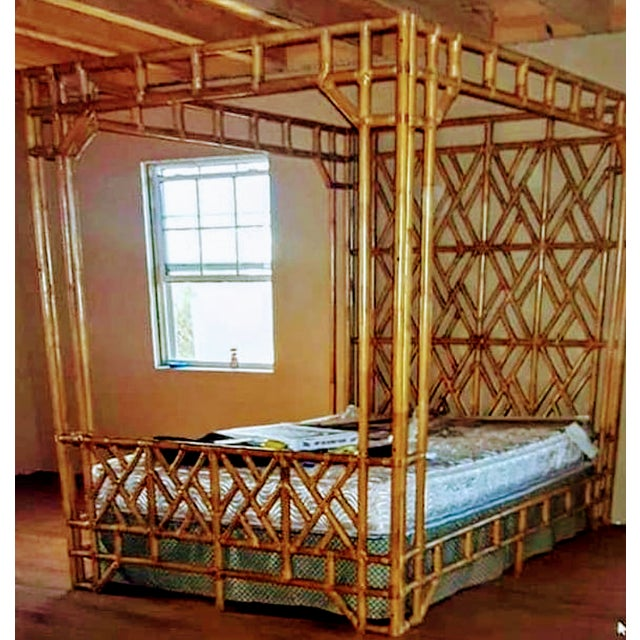 This is an incredible massive all bamboo regency queen size bed frame. This bed frame is an absolute work of art! The bed...