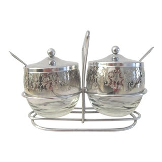 Mid-Century Vitreon Queens Lusterware Condiment Set, 5 Pcs For Sale
