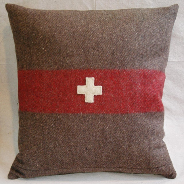 Swiss Wool & Linen Applique Cross Feather/Down Pillow - Image 3 of 4