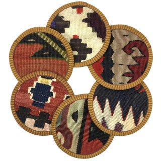 Kilim Coasters Set of 6 | Cebeci For Sale