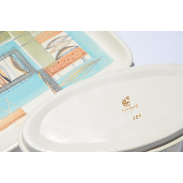 1950s Sascha Brastoff Ceramic Tray and Oval Bowl - a Pair For Sale - Image 10 of 13