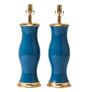 Eglomise Peacock Blue Table Lamps - a Pair For Sale