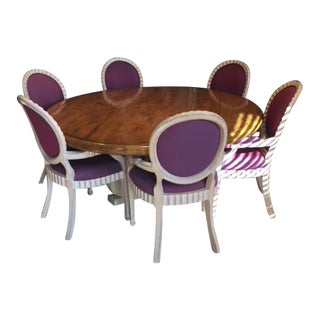 Purple Dining Room Table & Chairs Set - Set of 7