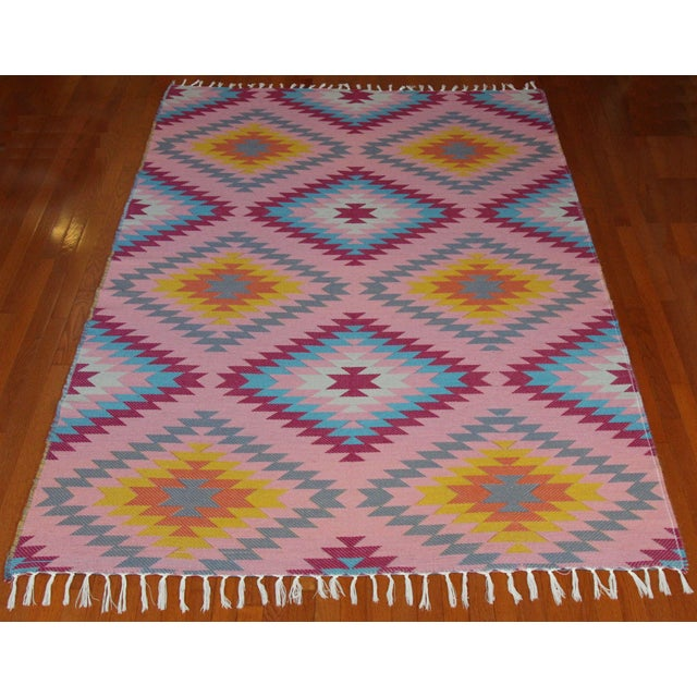 "Reversible Flat Weave Diamond Wool Kilim Rug - 5'3"" x 7'6"" - Image 2 of 8"