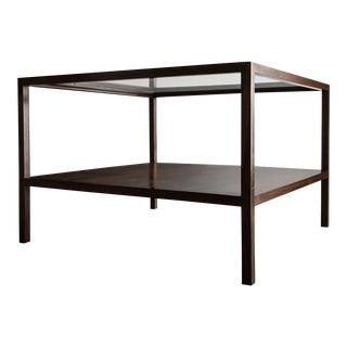 Square coffee table in jacaranda with glass top and shelf underneath For Sale