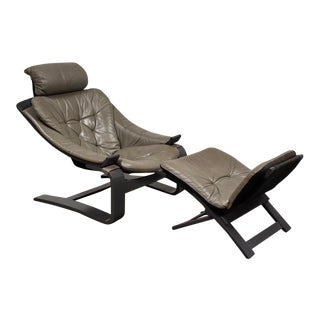 Grey Leather Lounge Chair by Ake Fribytter for Nelo For Sale