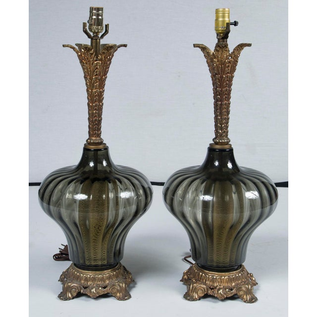 Glass 1940's Italian Venetian Lamps - a Pair For Sale - Image 7 of 7
