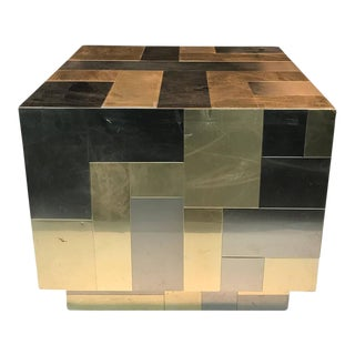 Paul Evans Cube-Shaped Brass & Chrome Patchwork Table For Sale