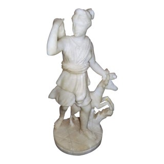 19th C. White Marble Statue of Diana For Sale