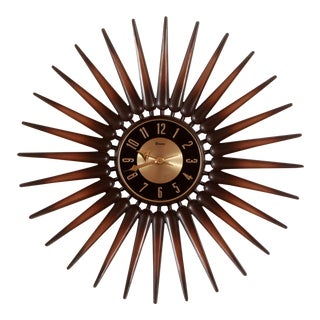 Mid Century Modern Syroco Starburst Wall Clock For Sale
